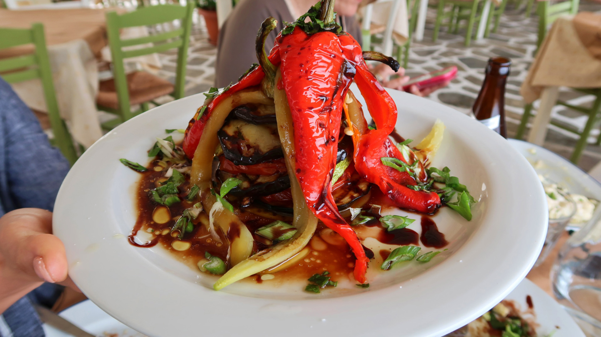 Sway the way andros chora restaurant grilled vegetables