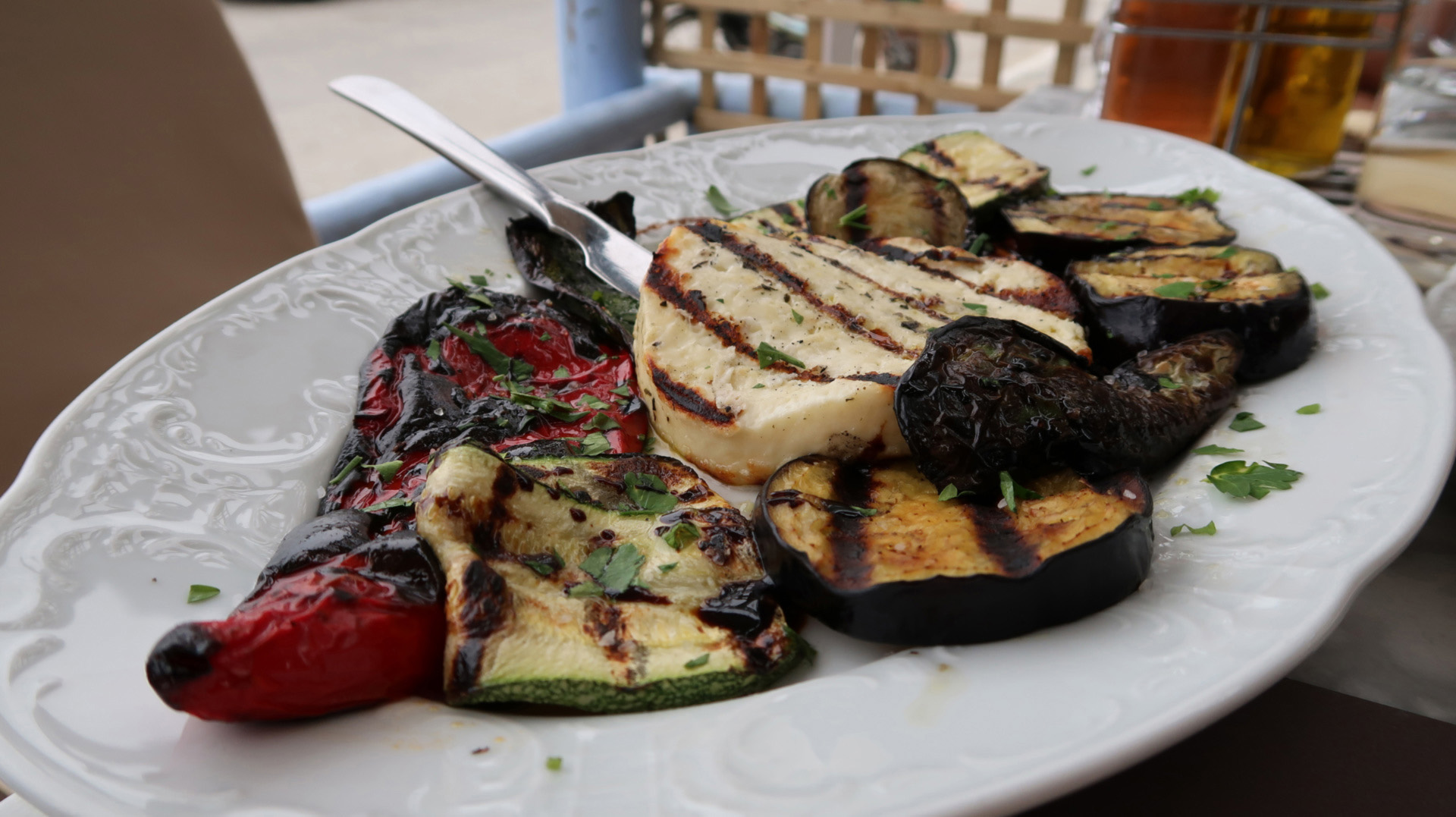 sway the way greece andros cheese and grilled vegies